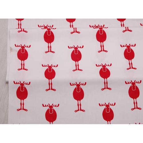 Сатин хлопок, 160см, красные лоси, белый фон