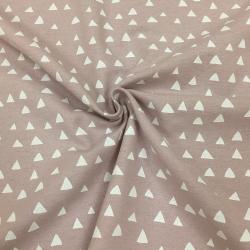 Фланель плательная, 145 см, треугольники, фон какао №31