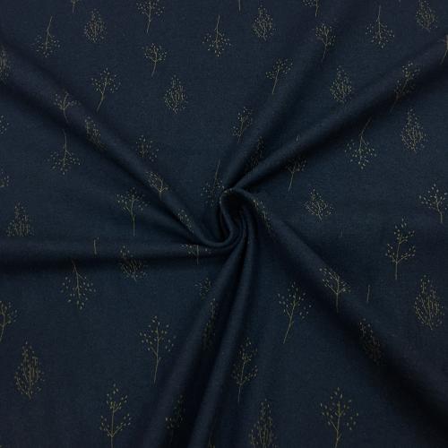 Фланель плательная, 145 см, крупные деревья, темно-синий фон №43