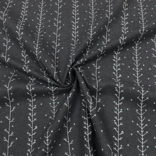 Фланель плательная, 145 см, веточки, серый фон №35-3