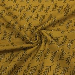 Фланель плательная, 145 см, частые веточки, горчичный фон