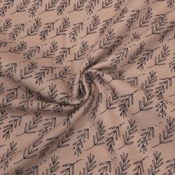 Фланель плательная, 145 см, частые веточки, пудровый фон