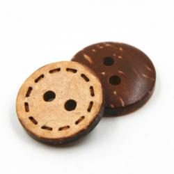 Пуговица кокосовая, штрих, 15 мм // упаковка