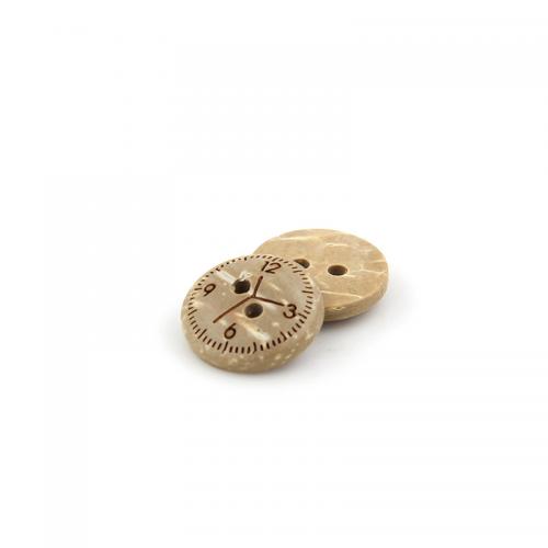 Пуговица кокосовая,  часы, 12,5 мм // упаковка