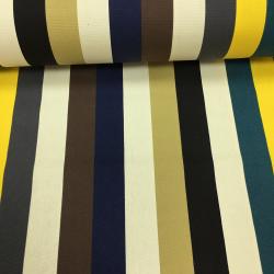 Канвас принт, 10 унций, 150 см, широкие синие, бежевые, желтые полосы №9