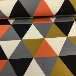 Канвас принт, 6 унций, 150 см, крупные оранжевые треугольники