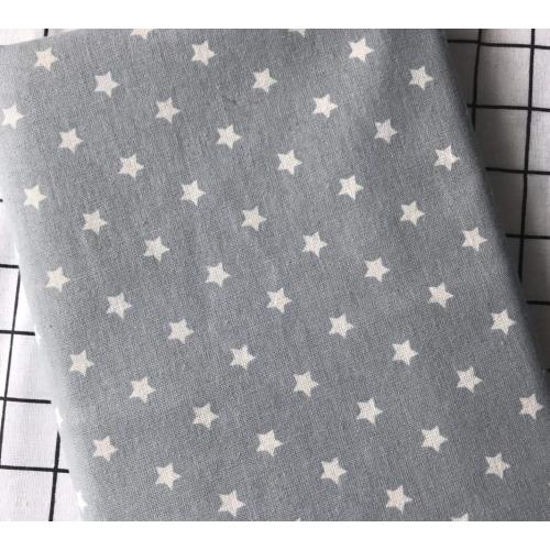 Полулён, 150 см, мелкие белые звездочки, серый фон