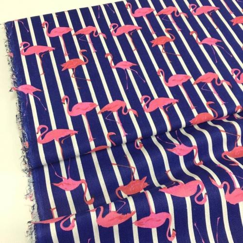 Полулён, 150 см, розовый фламинго темно-синий фон, полоска