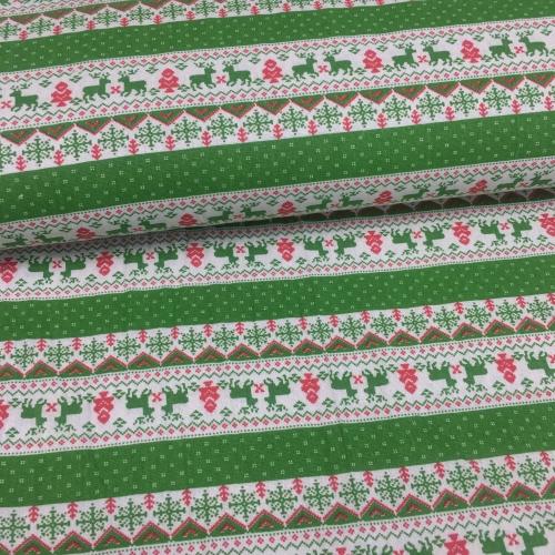 Полулён, 150 см, новогодний узор, зеленый цвет