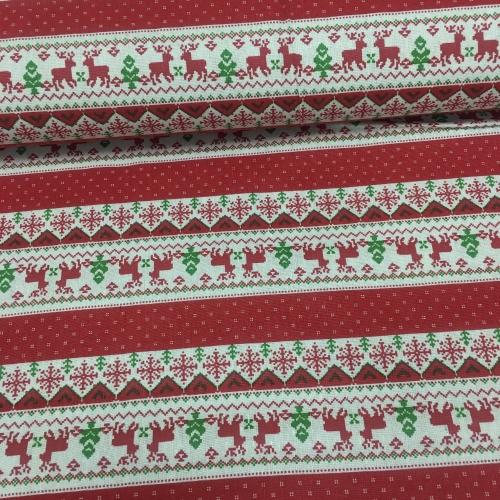 Полулён, 150 см, новогодний узор, красный цвет
