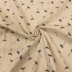 Муслин жатка, 135 см, крупные одуванчики, бежевый фон