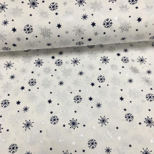 Ранфорс с глиттером, 240 см, снежинки серебро, синий