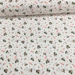 Сатин хлопок, 160 см, мелкие цветы, компаньон крупных роз - белый фон