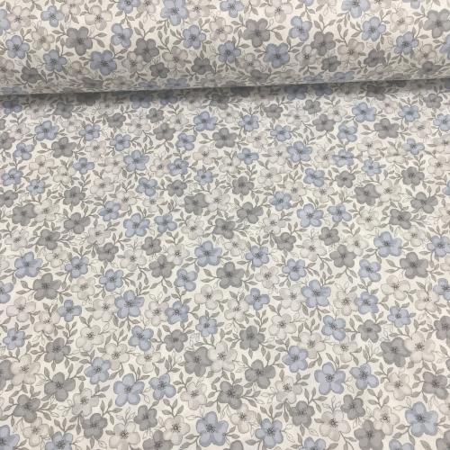 Ткань хлопок, 160см, мелкие серо-голубые цветы