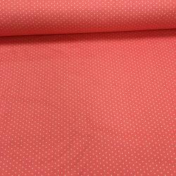 Сатин хлопок, 160 см, мелкий горошек, ярко-розовый фон