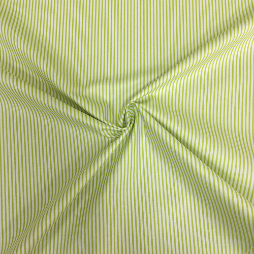 Сатин хлопок, 160 см, частая зеленая полоса, белый фон