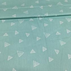 Сатин хлопок, 160 см, треугольники, мятно-голубой фон (компаньон мишек на северном полюсе)