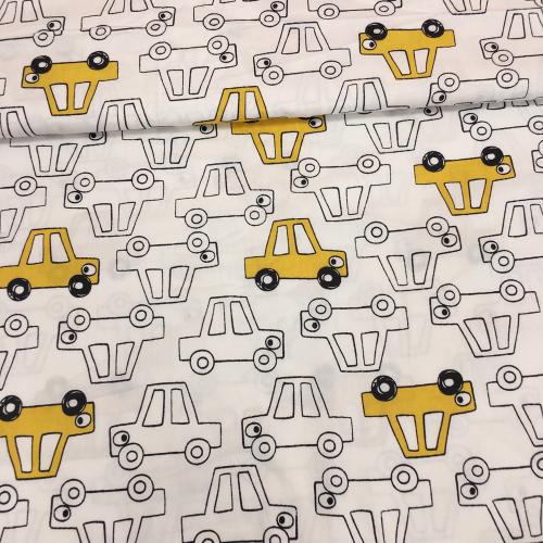 Сатин хлопок, 160 см, частые бело-желтые машинки
