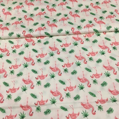 Сатин хлопок, 160 см, мелкие розовые фламинго, листья