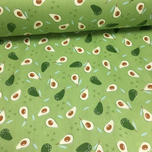 Сатин хлопок, 160 см, мелкие авокадо с крестиками, зеленый фон