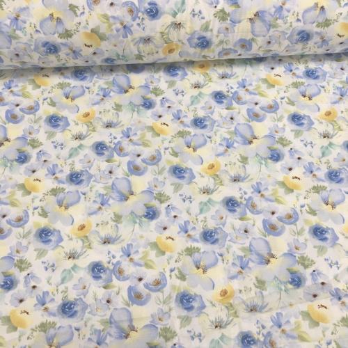 Сатин хлопок, 160 см, акварельные цветы, голубой цвет