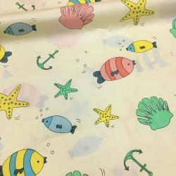 Сатин хлопок, 160 см, разноцветные рыбки, светлый фон
