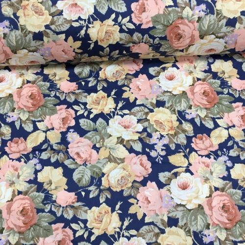 Сатин хлопок 160 см.,крупные розы на синем фоне