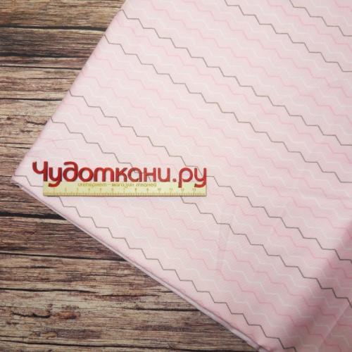 Ткань хлопок, 160 см, зигзаг, розовый фон