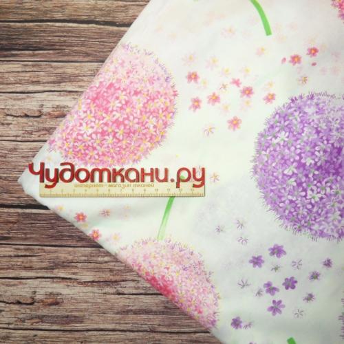 Ткань хлопок, 160 см, одуванчики розовые