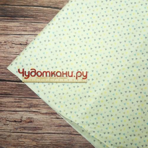 Ткань хлопок, 160 см, мелкие серые треугольники