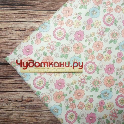 Сатин хлопок, 160см, мелкие бордово-розовые цветы