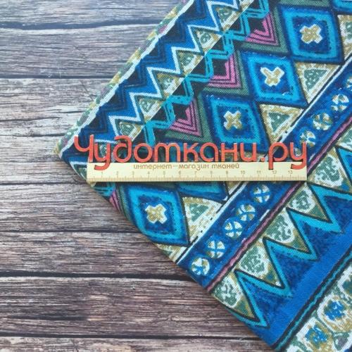Полулён, 150 см, геометрический узор, синий фон