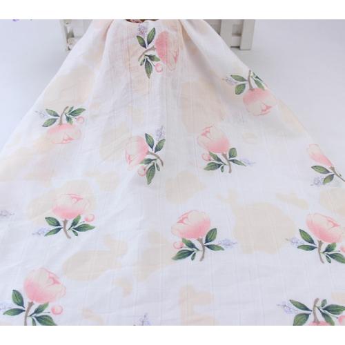 Муслин, 135см, 70% бамбук, 30% хлопок, розовые цветы