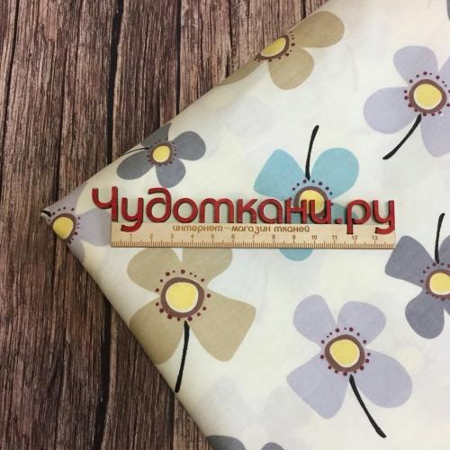 Ткань хлопок, 160 см, серые и бежевые цветы, бежевый фон