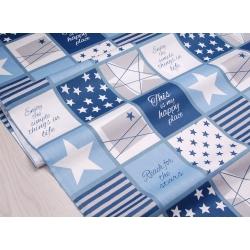 Ткань хлопок, 160 см, звезды, полосы, квадраты, синий цвет