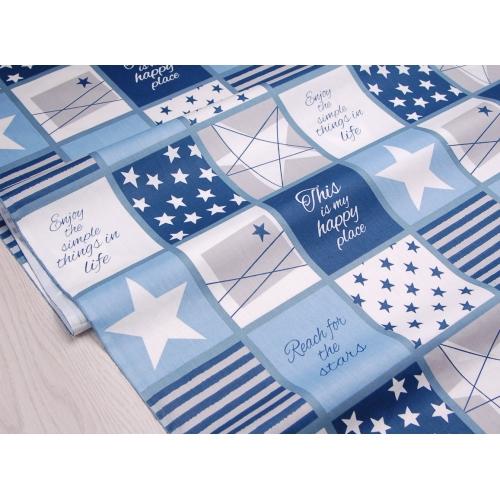 Сатин хлопок, 160 см, звезды, полосы, квадраты, синий цвет