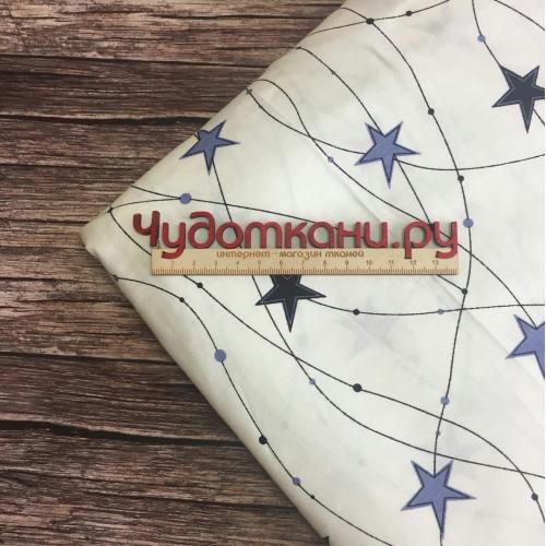Сатин хлопок, 160 см, синие и серые звезды, линии, белый фон