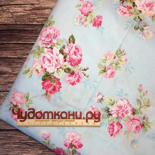 Сатин хлопок, 160 см, розовые розы, голубой фон