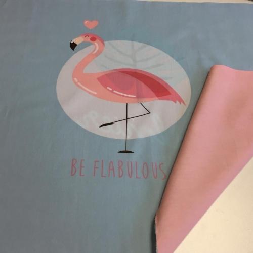 Купон на наволочку 60см*160см фламинго и листочек
