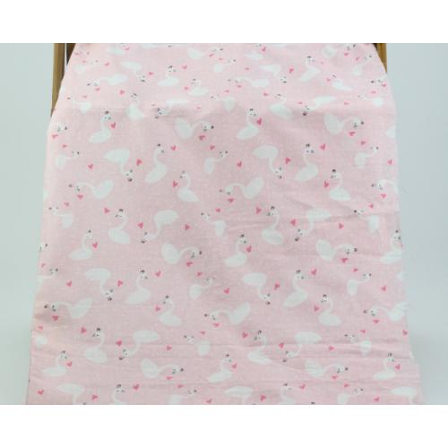 Муслин, 153 см, лебеди, розовый фон