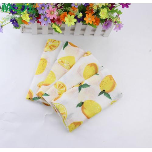 Муслин, 125 см, 100% хлопок, ярко-желтые  лимоны