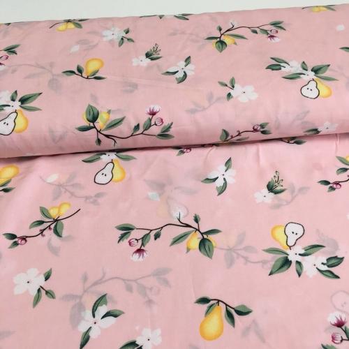 Штапель, 143 см, желтые груши, розовый фон
