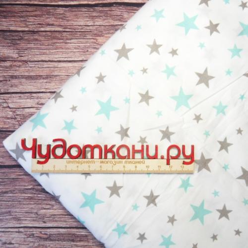 Сатин хлопок, 160 см, мелкие серые и мятные звезды на белом