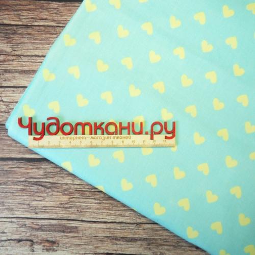 Ткань хлопок, 160 см, желтые сердечки на мятном
