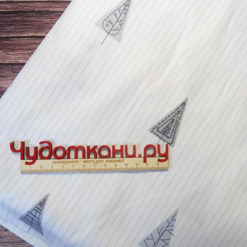 Ткань хлопок, 160 см, серые елки треугольники на белом
