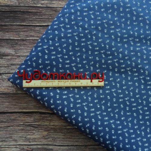 Ткань хлопок, 160 см, под джинсу №3, мелкие цветы