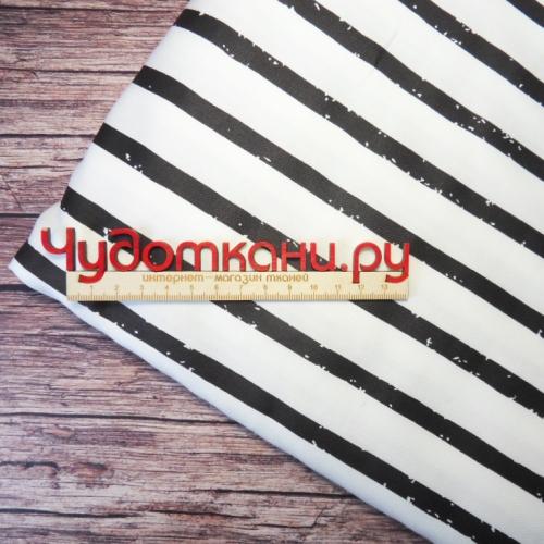Ткань хлопок, 160 см, черные полосы на белом