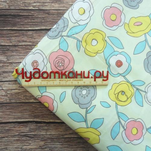 Ткань хлопок, 160 см, бирюзовые цветы