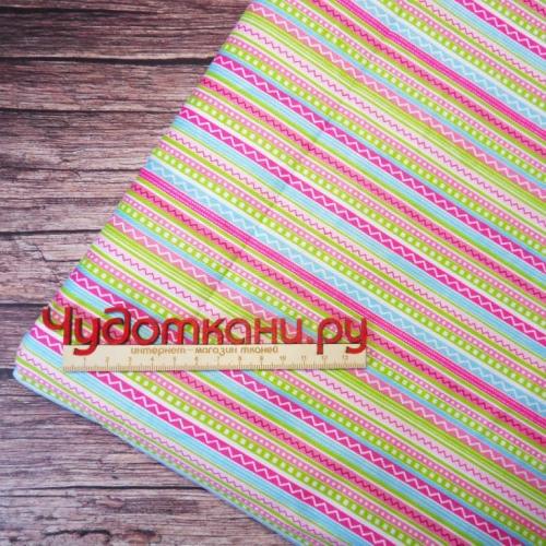 Ткань хлопок, 160 см, мелкие яркие полосы
