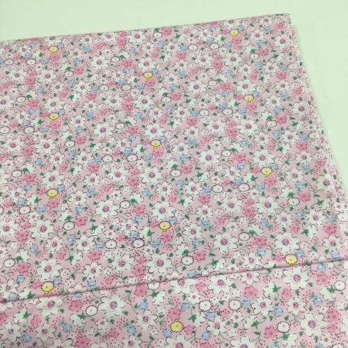 Ткань хлопок, 160 см, нежные цветы, розовый фон